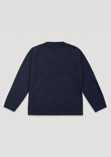 Cotton blend plain knit sweater with V-neck and logo on the front