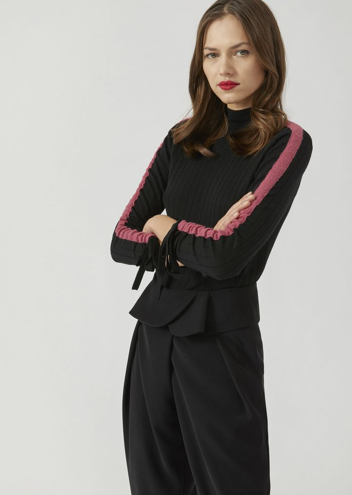 da86f4131 Jumper with high ribbed collar and contrasting band on the sleeves ...