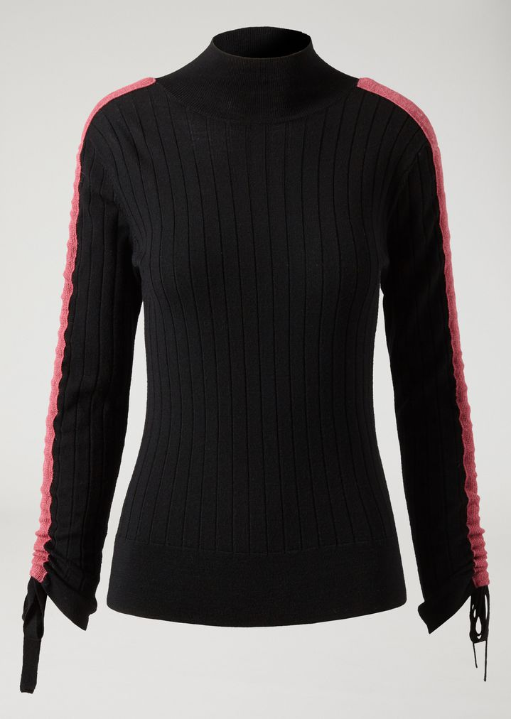 ... EMPORIO ARMANI Jumper with high ribbed collar and contrasting band on  the sleeves Sweater Woman r ... c4e4c23c2