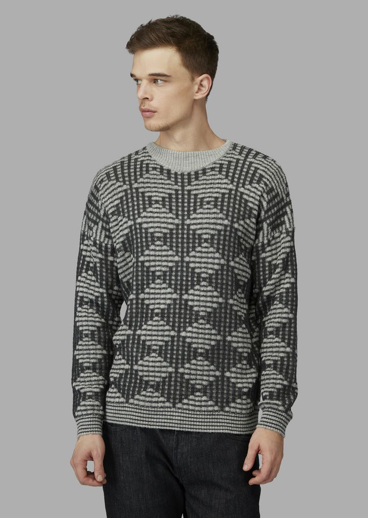 ff1d16151332 Wool and alpaca sweater with lozenge pattern   Man   Giorgio Armani