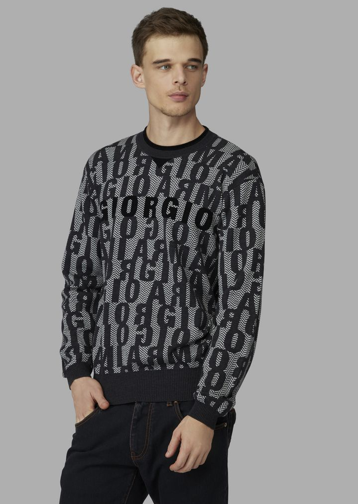 87962814eb Jacquard knit sweater with lettering pattern | Man | Giorgio Armani