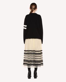 "REDValentino Wool sweater with college-style ""86"" jacquard detail"