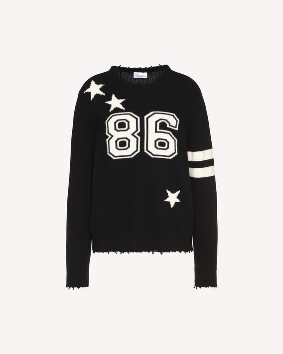 "REDValentino Wool jumper with college-style ""86"" jacquard detail"
