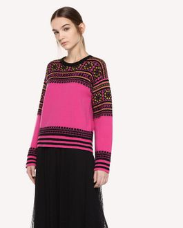 REDValentino Wool sweater with geometric jacquard design