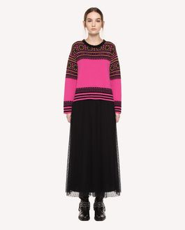 REDValentino Wool jumper with geometric jacquard design