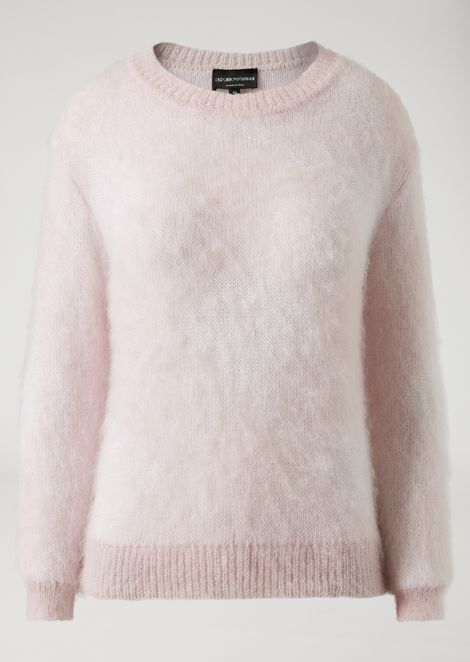 Crew neck sweater in mohair blend
