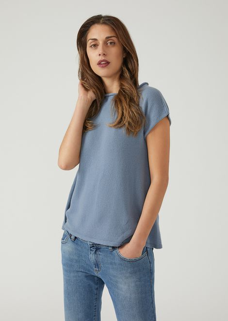 Short-sleeved knit in single jersey cashmere