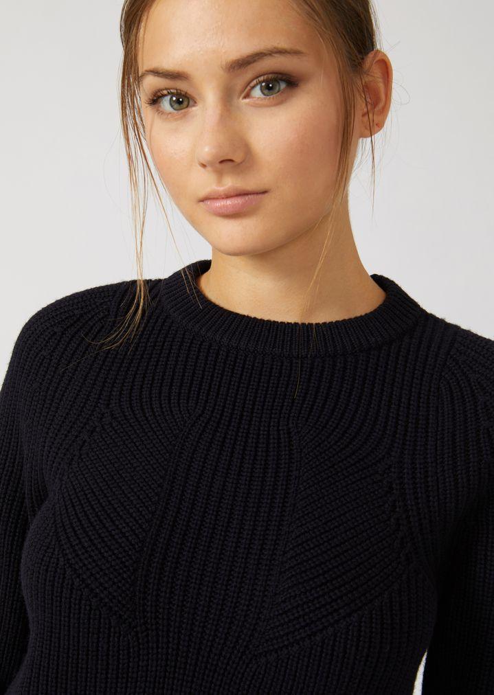 Emporio Armani - Jumper in full cardigan rib virgin wool with a symmetrical knit - 5
