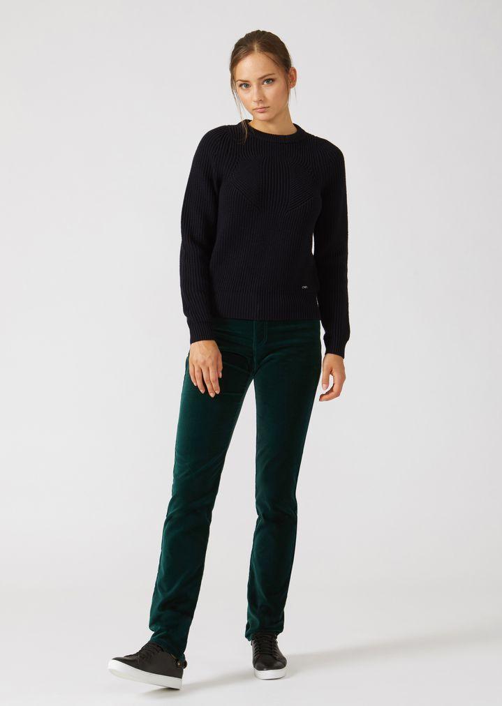 Emporio Armani - Jumper in full cardigan rib virgin wool with a symmetrical knit - 3