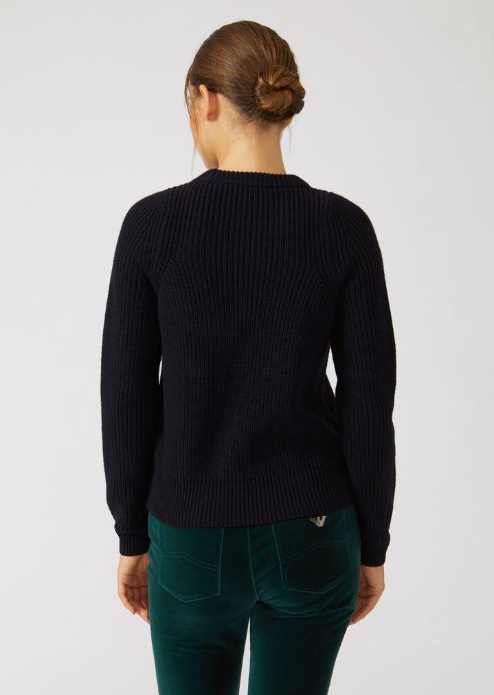 Emporio Armani - Jumper in full cardigan rib virgin wool with a symmetrical knit - 4