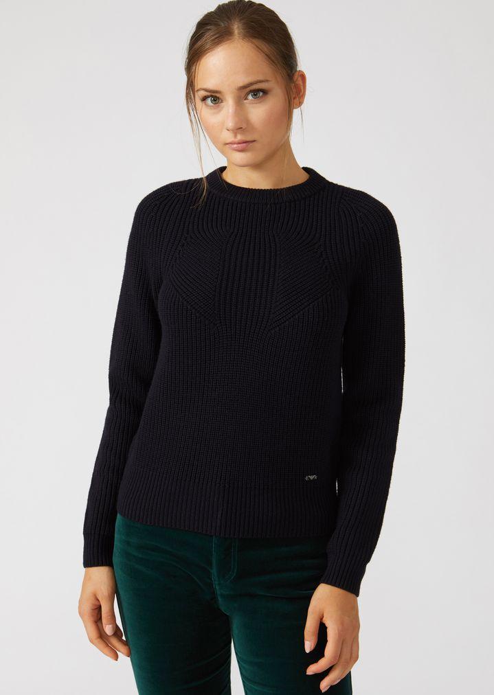 Emporio Armani - Jumper in full cardigan rib virgin wool with a symmetrical knit - 1