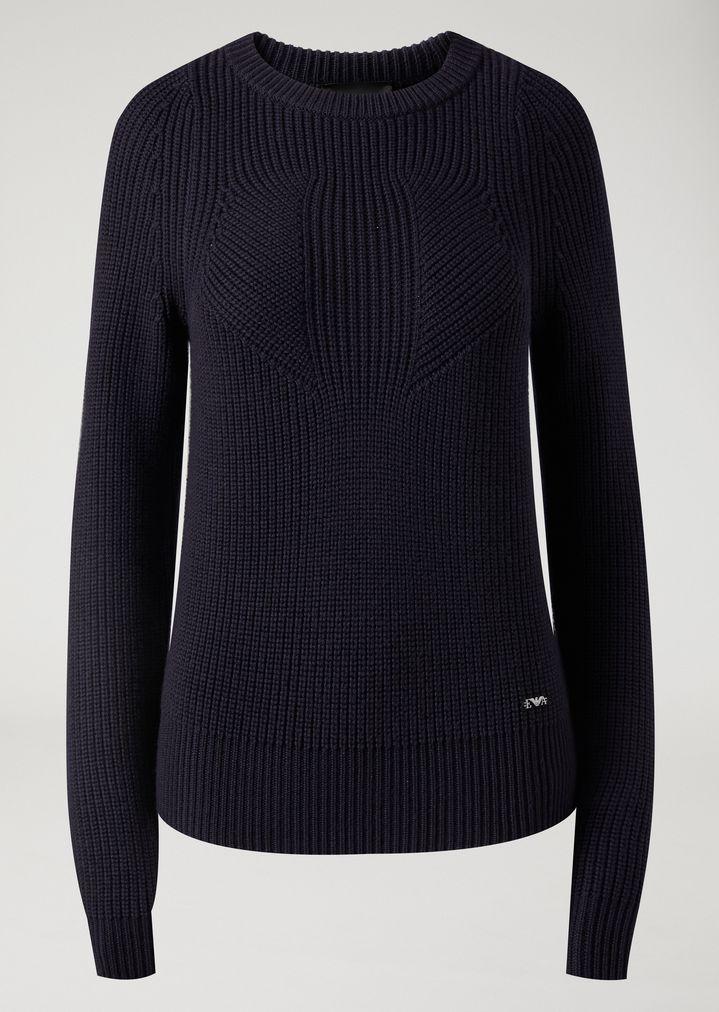 Emporio Armani - Jumper in full cardigan rib virgin wool with a symmetrical knit - 2