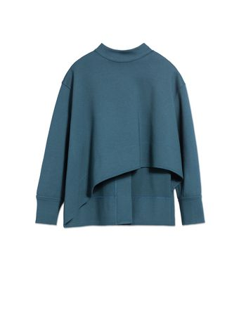 Marni PETROL BLUE VISCOSE SWEATSHIRT WITH ASYMMETRIC CUT Woman