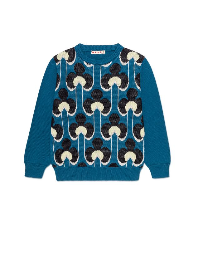 Marni WOOL AND COTTON SWEATER WITH ALL-OVER PORTRAIT PRINT  Woman - 1