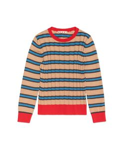 Marni STRIPED WOOL AND COTTON SWEATER Woman