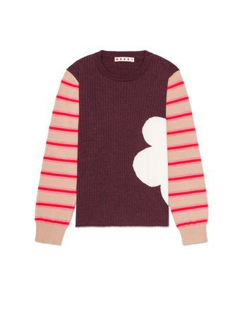 Marni WOOL KNITWEAR WITH CONTRASTING COLOR SLEEVES Woman