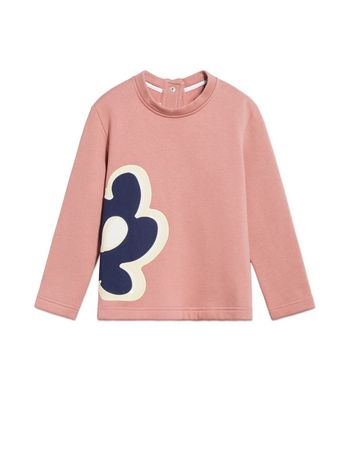 Marni BLUE COTTON SWEATSHIRT WITH FLORAL PENDANT PRINT Woman