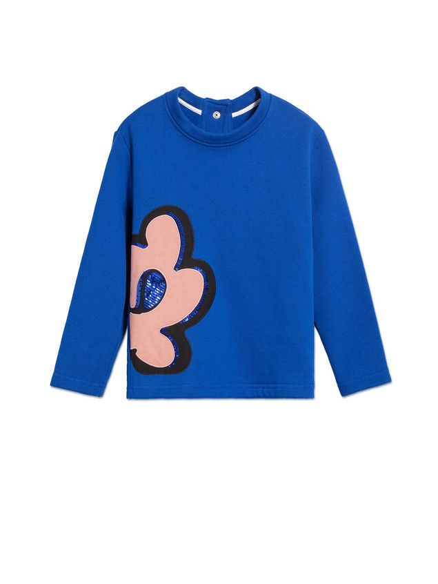 Marni BLUE COTTON SWEATSHIRT WITH FLORAL PENDANT PRINT Woman - 1