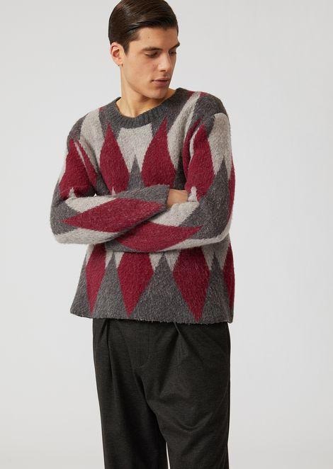 Wool blend sweater with lozenge jacquard design