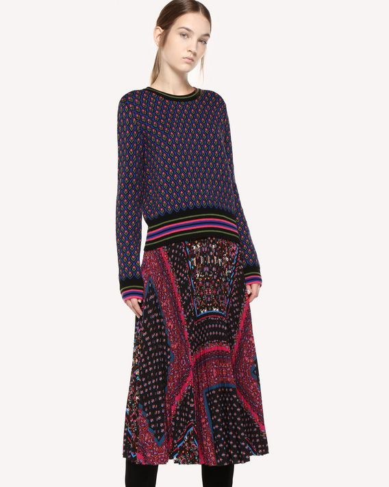 REDValentino Wool sweater with forget me not jacquard design
