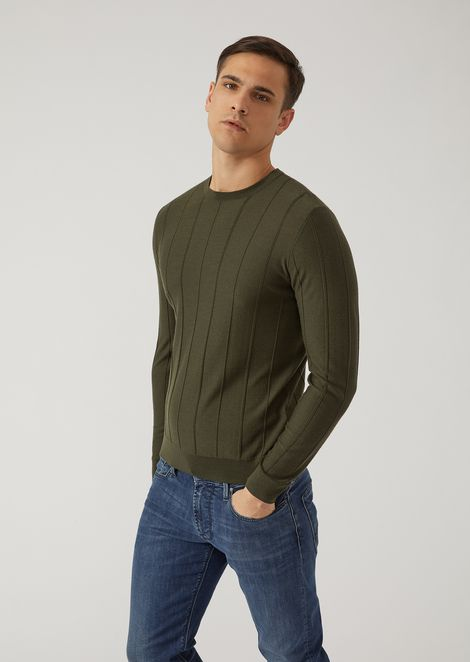 Pure virgin wool jumper with drop-stitch motif