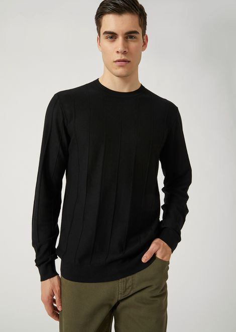 Pure virgin wool sweater with drop-stitch motif