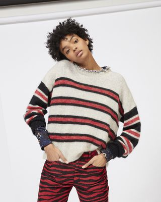 ISABEL MARANT ÉTOILE LONG SLEEVE JUMPER Woman RUSSELL striped mohair jumper r