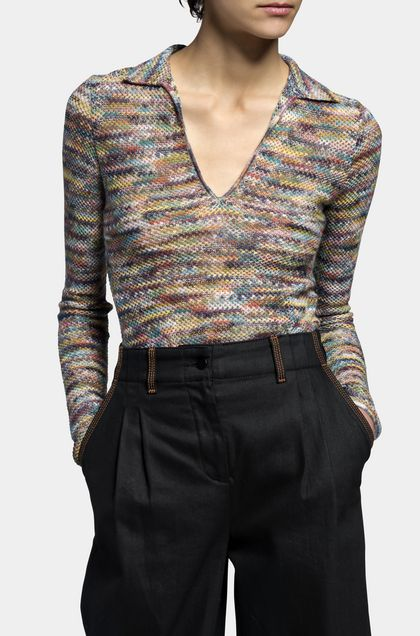 MISSONI Long-sleeved polo shirt Khaki Woman - Back