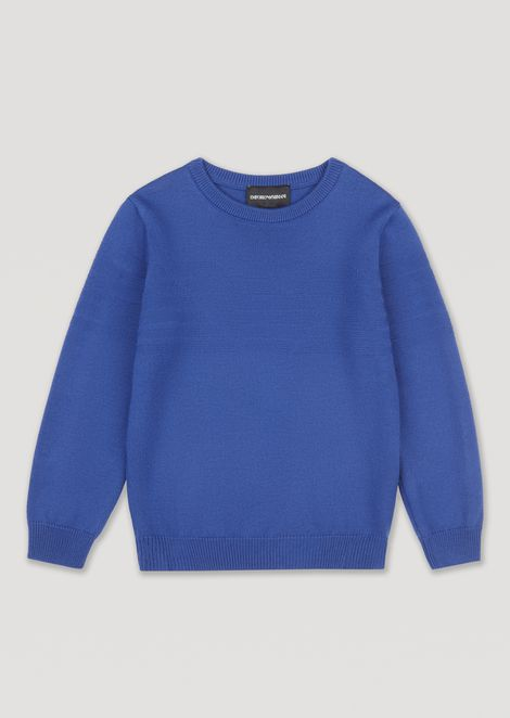 Sweater with all-over Emporio Armani logo on the front