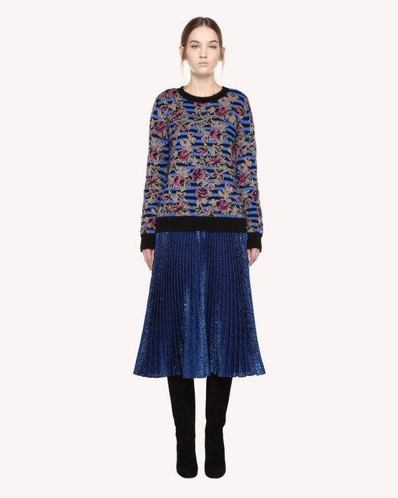 REDValentino Mohair sweater with Lurex Jacquard Rose