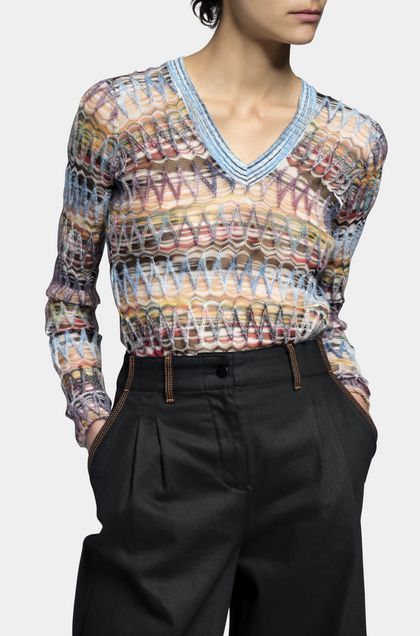 MISSONI V-Neck Sky blue Woman - Back