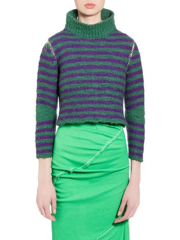Marni Striped turtleneck in felted virgin wool Woman