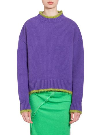 Marni Turtleneck in purple and acid green wool and nylon Woman