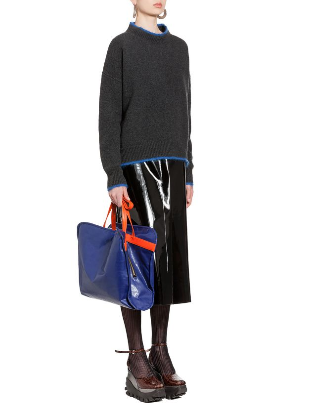 Marni Turtleneck in green and blue wool and nylon Woman - 4