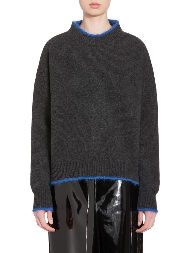 Marni Turtleneck in green and blue wool and nylon Woman - 1