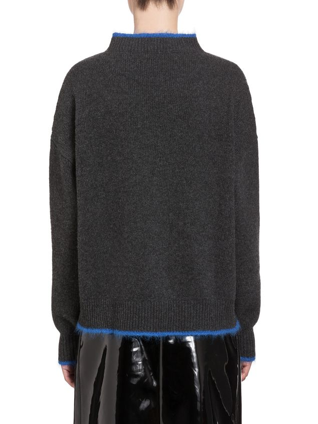 Marni Turtleneck in green and blue wool and nylon Woman - 3