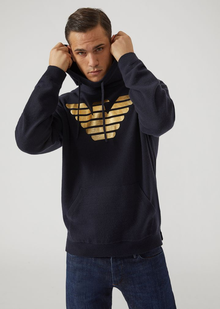 più amato e8d81 c778e Hooded sweater with metallic eagle | Man | Emporio Armani