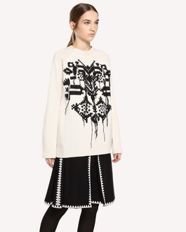 REDValentino Wool sweater with cross-stitch detailing