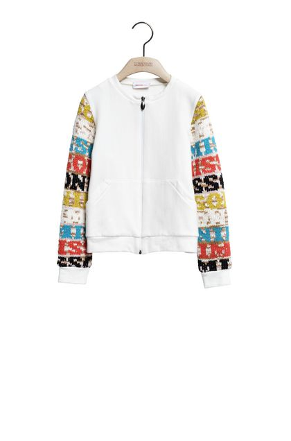 MISSONI KIDS Pullover con Zip Bianco Donna - Retro