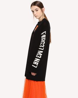 REDValentino Maxi wool cardigan with Encrypted Love Letter jacquard design