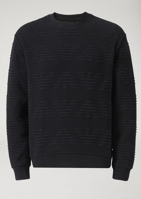 Cotton blend sweatshirt with embossed all-over eagle motif