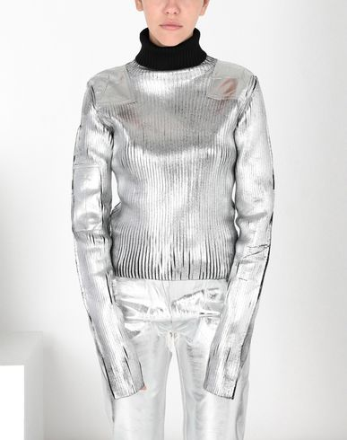 MM6 MAISON MARGIELA High neck [*** pickupInStoreShipping_info ***] Silver coated ribbed knit pullover f