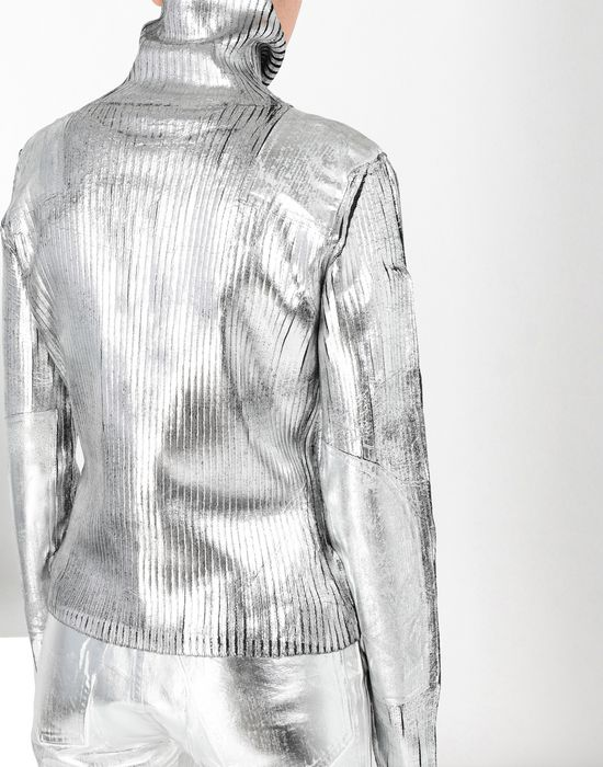 MM6 MAISON MARGIELA Silver coated ribbed knit pullover High neck sweater [*** pickupInStoreShipping_info ***] a