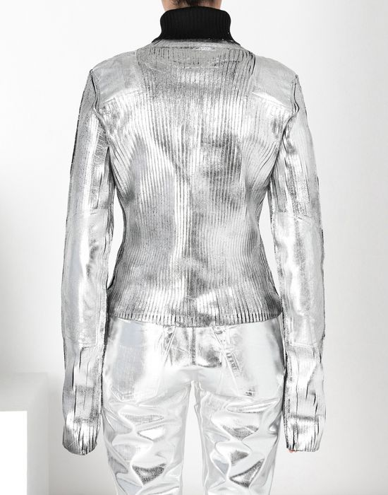 MM6 MAISON MARGIELA Silver coated ribbed knit pullover High neck sweater [*** pickupInStoreShipping_info ***] d