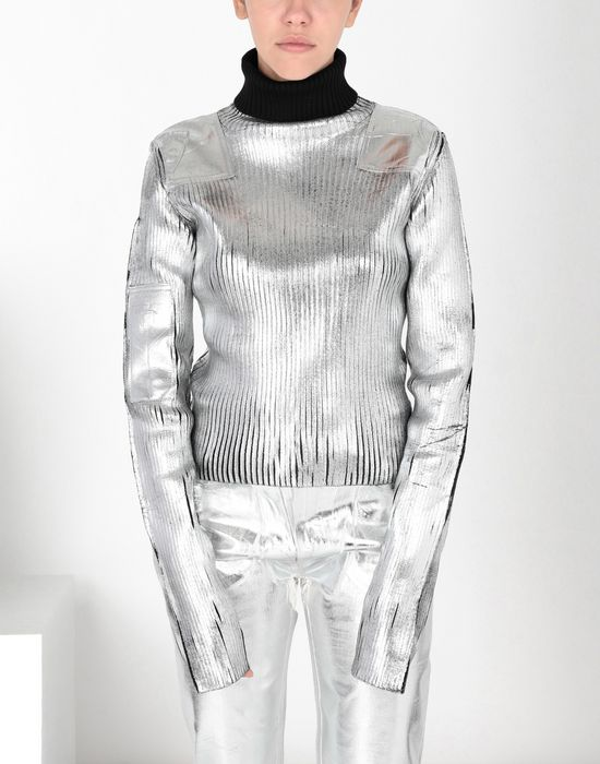 MM6 MAISON MARGIELA Silver coated ribbed knit pullover High neck sweater [*** pickupInStoreShipping_info ***] f