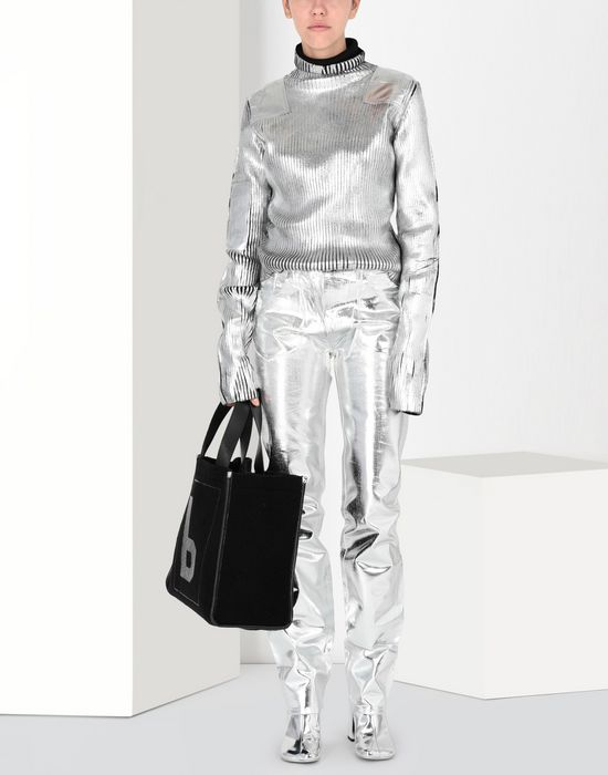 MM6 MAISON MARGIELA Silver coated ribbed knit pullover High neck sweater [*** pickupInStoreShipping_info ***] r