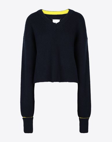 MAISON MARGIELA V-neck Woman Two-tone cropped knitted jumper f