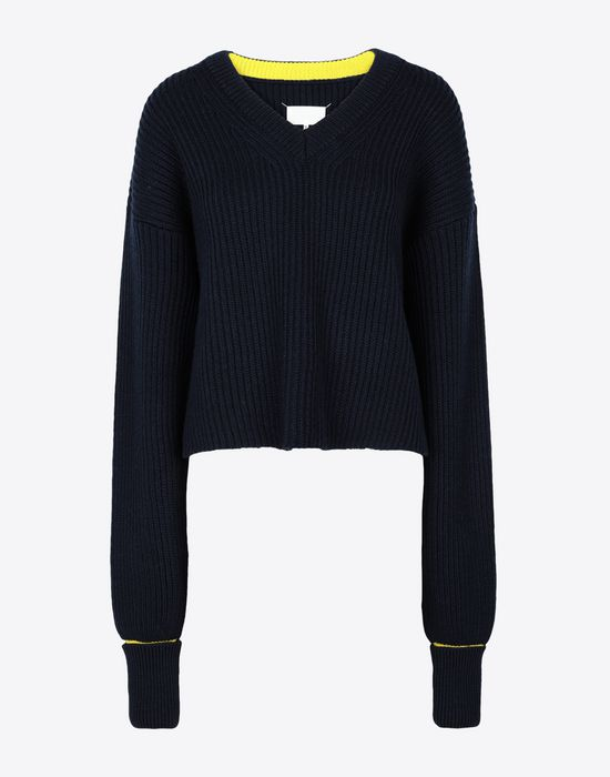 MAISON MARGIELA Two-tone cropped knitted jumper V-neck [*** pickupInStoreShipping_info ***] f