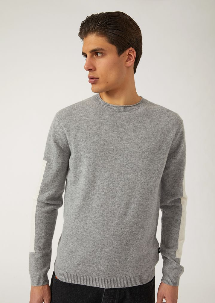 a05f776151 Plain-knit virgin wool and cashmere sweater with contrasting details ...