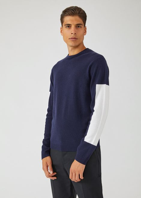 Plain-knit virgin wool and cashmere sweater with contrasting details